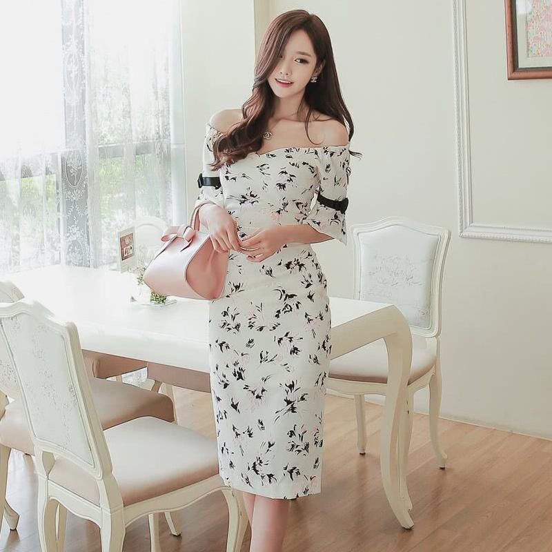 Off Shoulder Flower Print Dress