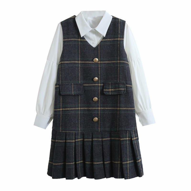 Vintage Plaid Dress With Turndown Collar Blouse