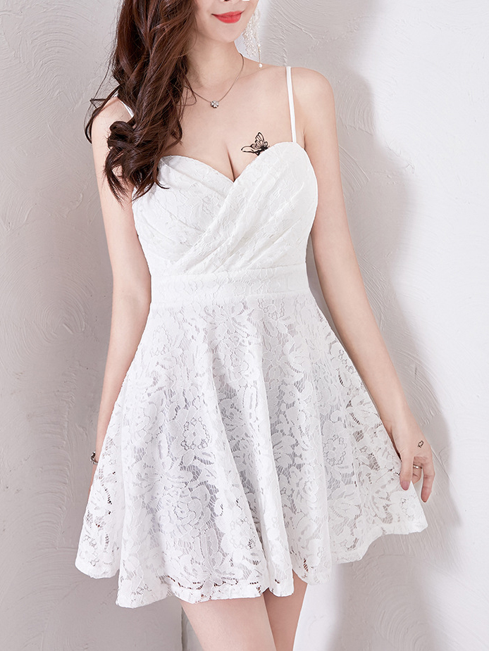 V Neck Spaghetti Strap Lace Dress