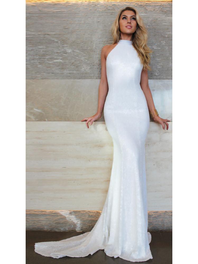 Backless White Long Halter Dress Formal