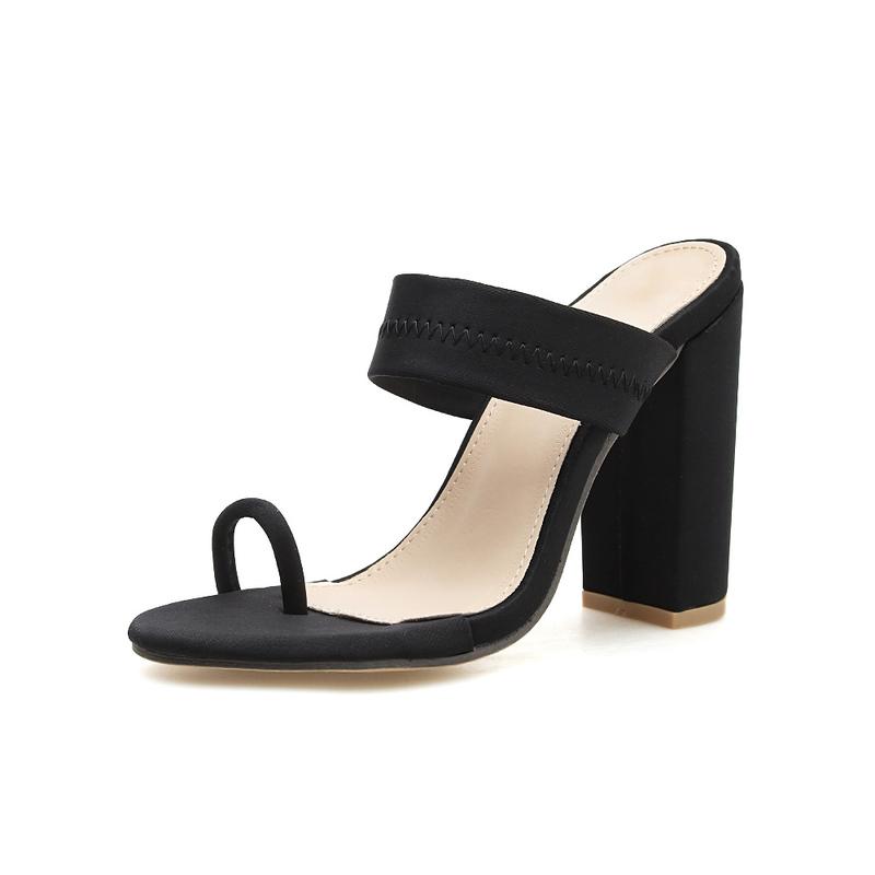 Simple Design Chunky Toe Loop Slippers