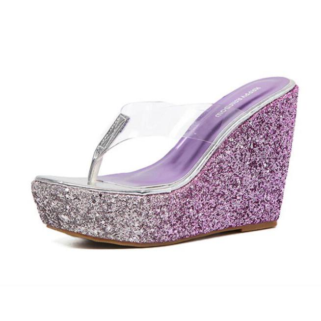 Sexy Sequined Platform Wedges Flip Flop Slippers