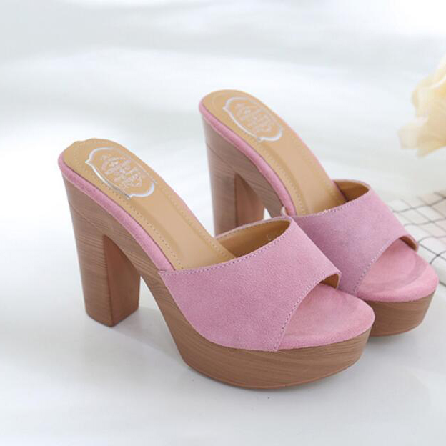 Euro Suede Peep-Toe Chunky Platform Slippers