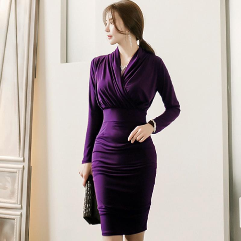 Ladies V Neck Bodycon Work Dress