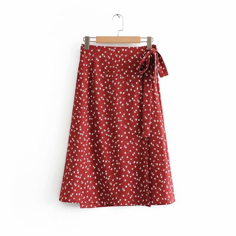 Fashionable Floral Binding Bow Midi Skirt