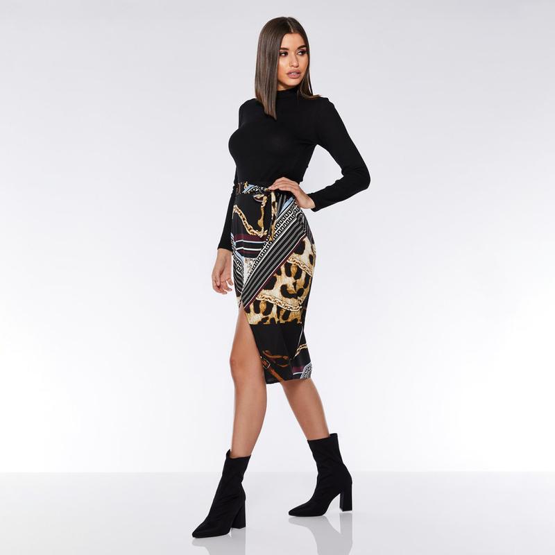 High Waisted Leopard Print Tie-Wrap Split Hem Skirt