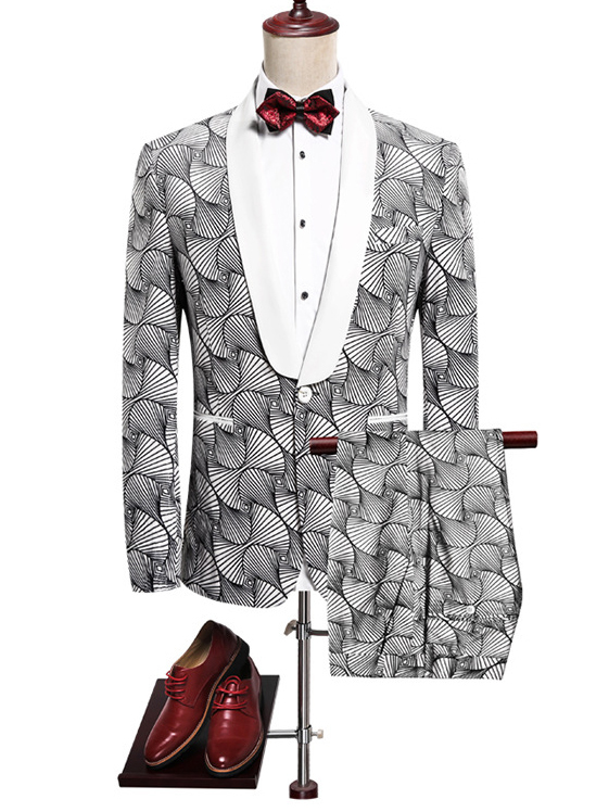 Striped Sector-Shaped Pattern Casual Wen Suit