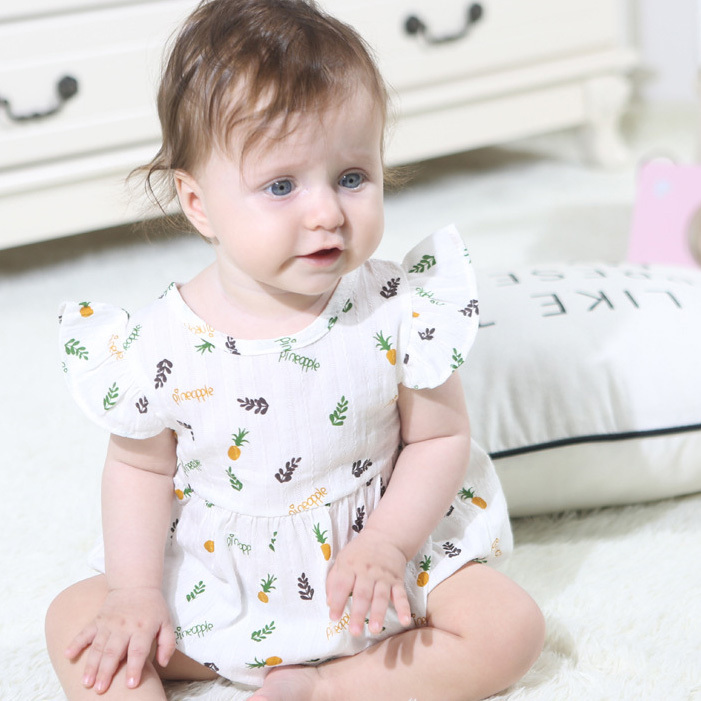 Casual Pineapple Print Baby Bodysuits