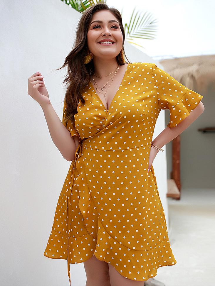 Dots V Neck Plus Size Dresses