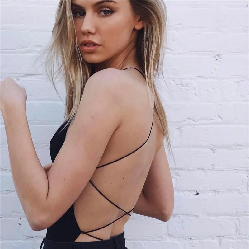 Sexy Cross Belt Backless Black Sleeveless Bodysuit