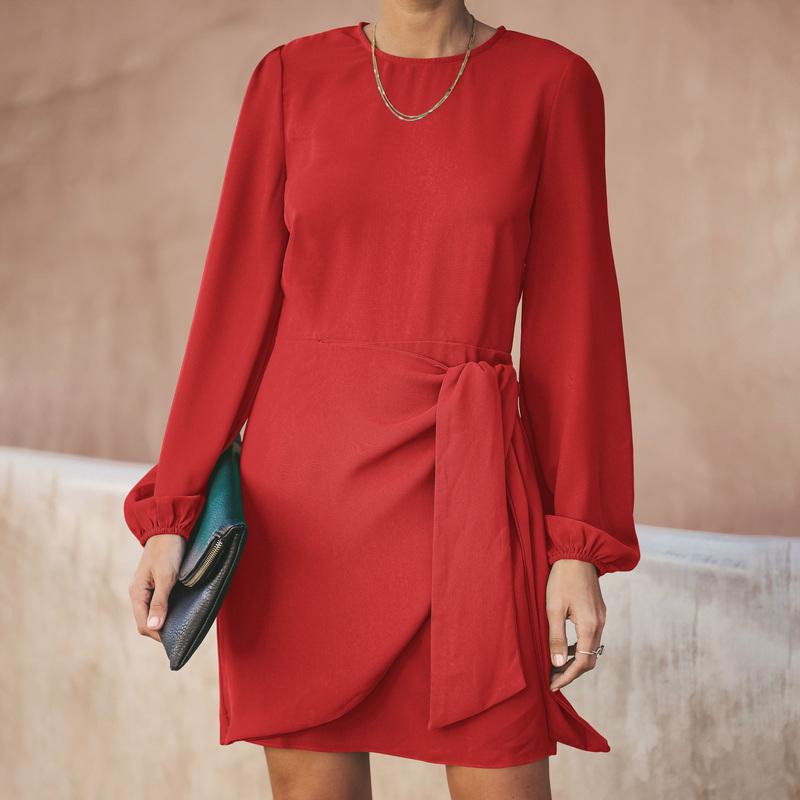 Simple Design Tie-Wrap Solid Long Sleeve Dresses