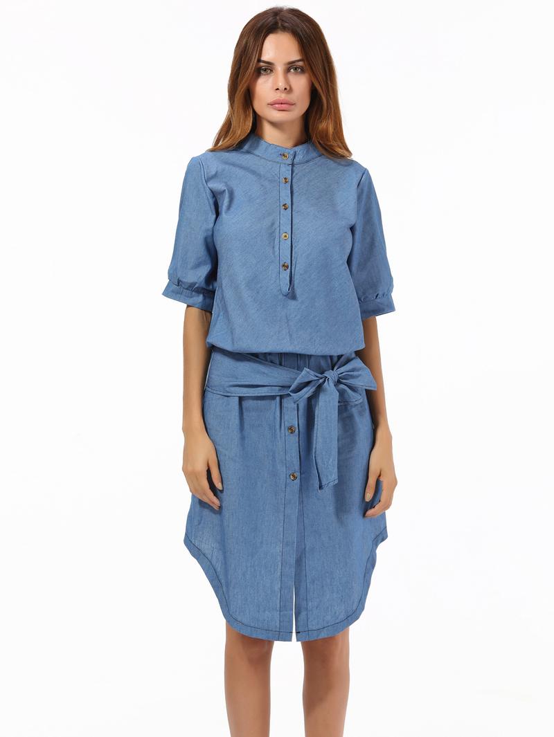 Binding Bow Denim Asymmetrical Blue Short Sleeve Dress