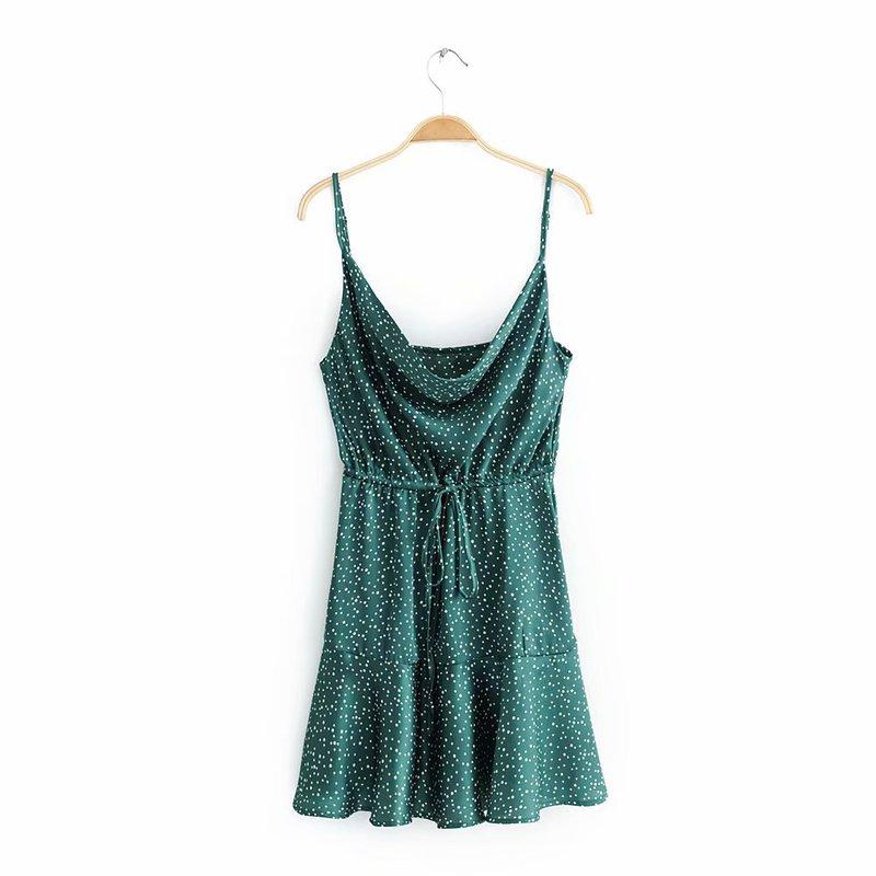 Dots Smart Waist Womens Sleeveless Dresses