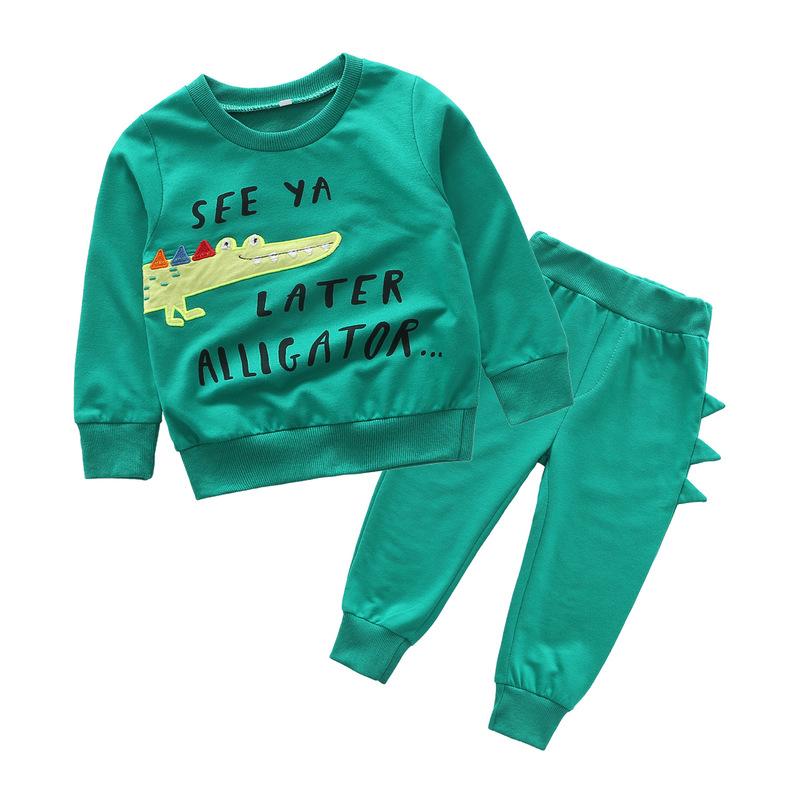 Alligator Design Letter Green Baby Set