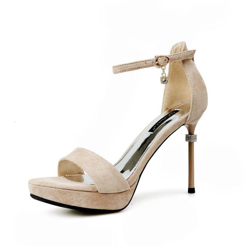 Fashionable Solid Suede Thin Heel Platform Sandals