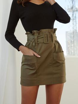 Chic Pockets ArmyGreen Mini Skirt For Woman
