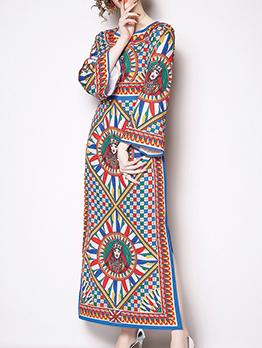 Abstract Printing Side Split Vintage Maxi Dress
