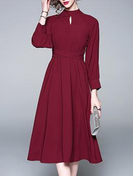 Stand Neck Tie-Wrap Burgundy Long Sleeve Dress