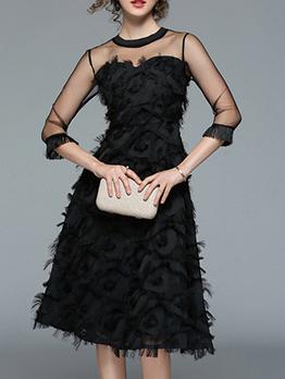Fashion Gauze Feather Tassel Black Dress