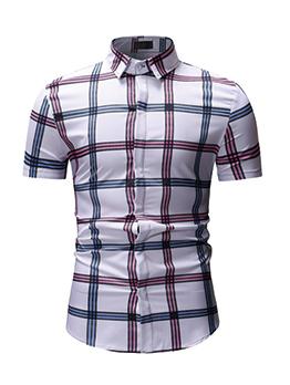Plaid Turndown Collar Leisure Shirts