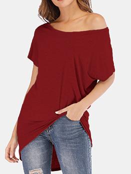 Crew Neck Asymmetrical Hem Solid T-Shirt For Women