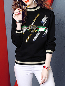 Casual Sequined Stand Collar Sweatshirts