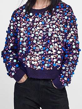 Fashion Crew Neck Sequin Sweatshirt For Women