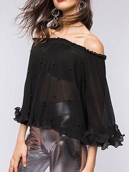 Boat Neck Studded Flare Sleeve Black Chiffon Blouse