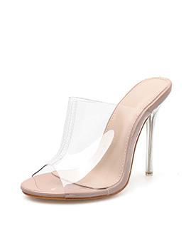 Fashion Peep-Toe Slide PVC Thin Heel Slippers