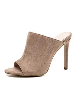 Peep-Toe Thin Heel Suede High Heel Slippers