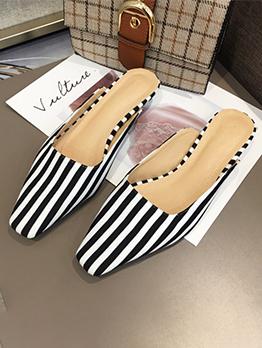 Striped Close Toe Woman Mules Slippers