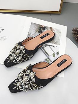 Stylish Beaded Slip On Mules Slippers