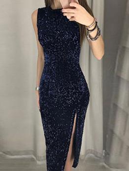Fitted Split Hem Sleeveless Sequin Dress