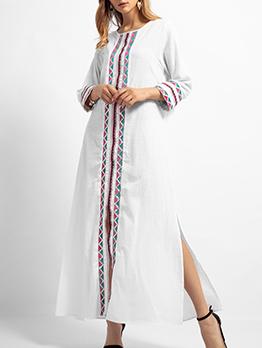 Muslim Embroidery Crew Neck White Maxi Dresses
