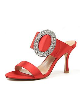 Fashionable Diamond Thin Heel Slippers