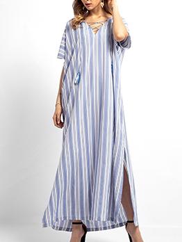 Muslim Tassels Striped Maxi Dress For Women