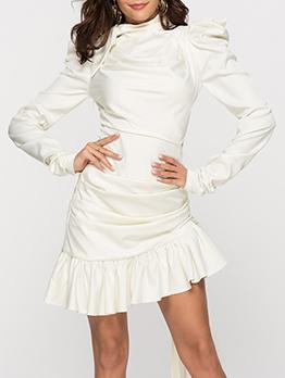 Stand Neck Solid Ruffled Hem Long Sleeve Dress