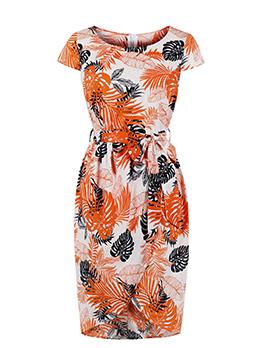 Leaves Printed Tie-Wrap Short Sleeve Dress