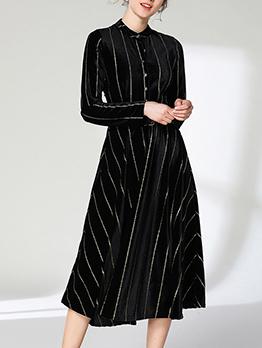 Euro Striped Velvet A Line Dress