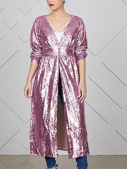 Euro Hot Sale Sequin Loose Long Coat For Women