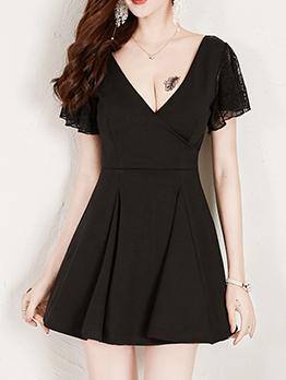Lace Patchwork V Neck A Line Dress