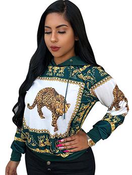 Vintage Style Leopard Printed Loose Hoodies