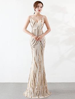 Boutique Sequin Color Block Evening Dresses