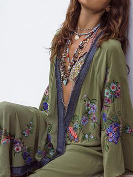 Euro Embroidery Flare Sleeve Green Long Coat