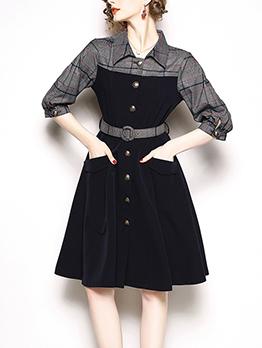 Plaid Contrast Color Ladies Dress