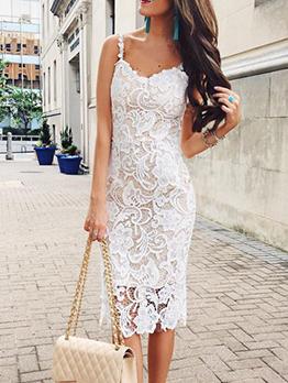 Lace Spaghetti Strap Womens Sleeveless Dresses