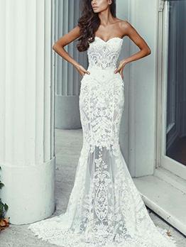 Lace Floor Length White Strapless Dress Long