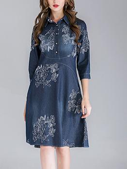 Embroidery Turndown Collar Denim Loose Dress