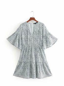 Casual V Neck Flower Print Dress