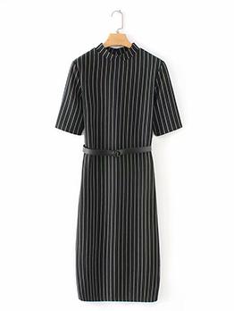Striped Crew Neck Dress With Belt